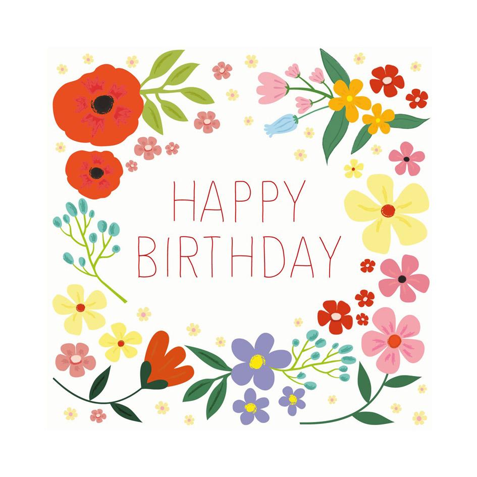 flower meadow birthday card  elfie children's clothes