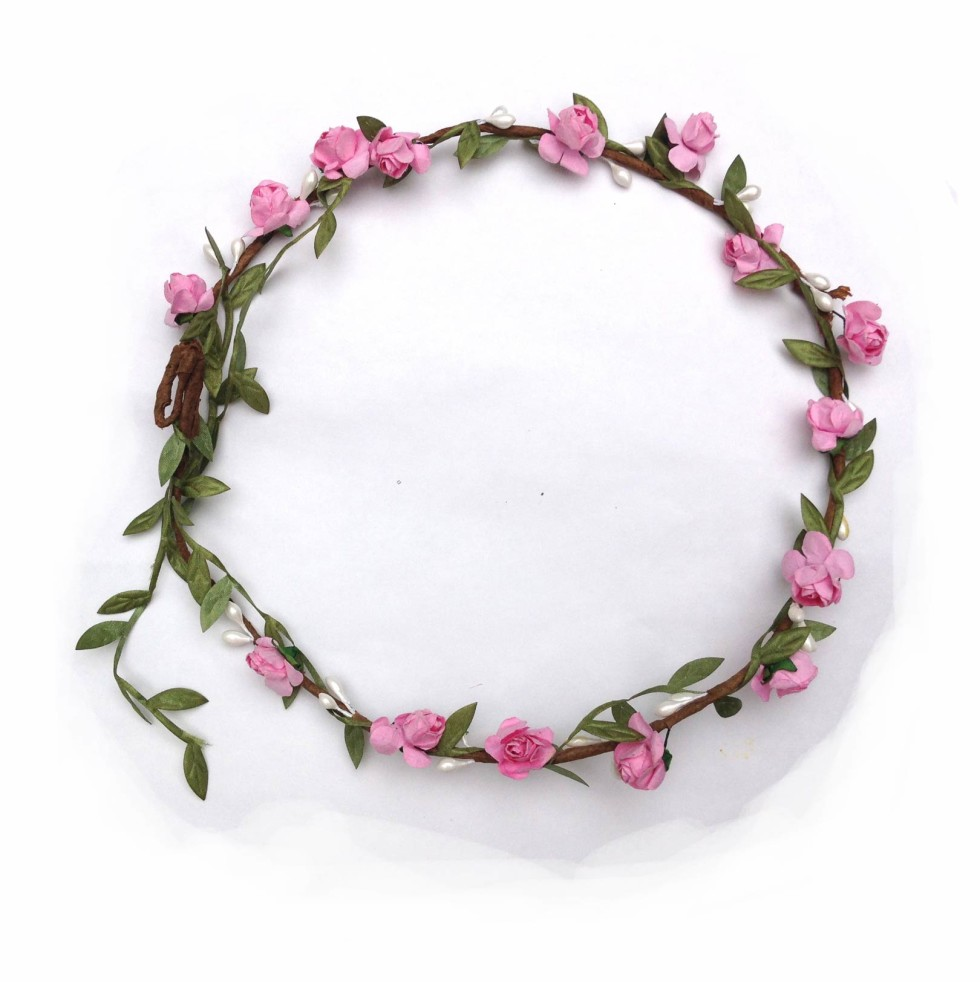 Flower crown small flower pink elfie childrens clothes izmirmasajfo