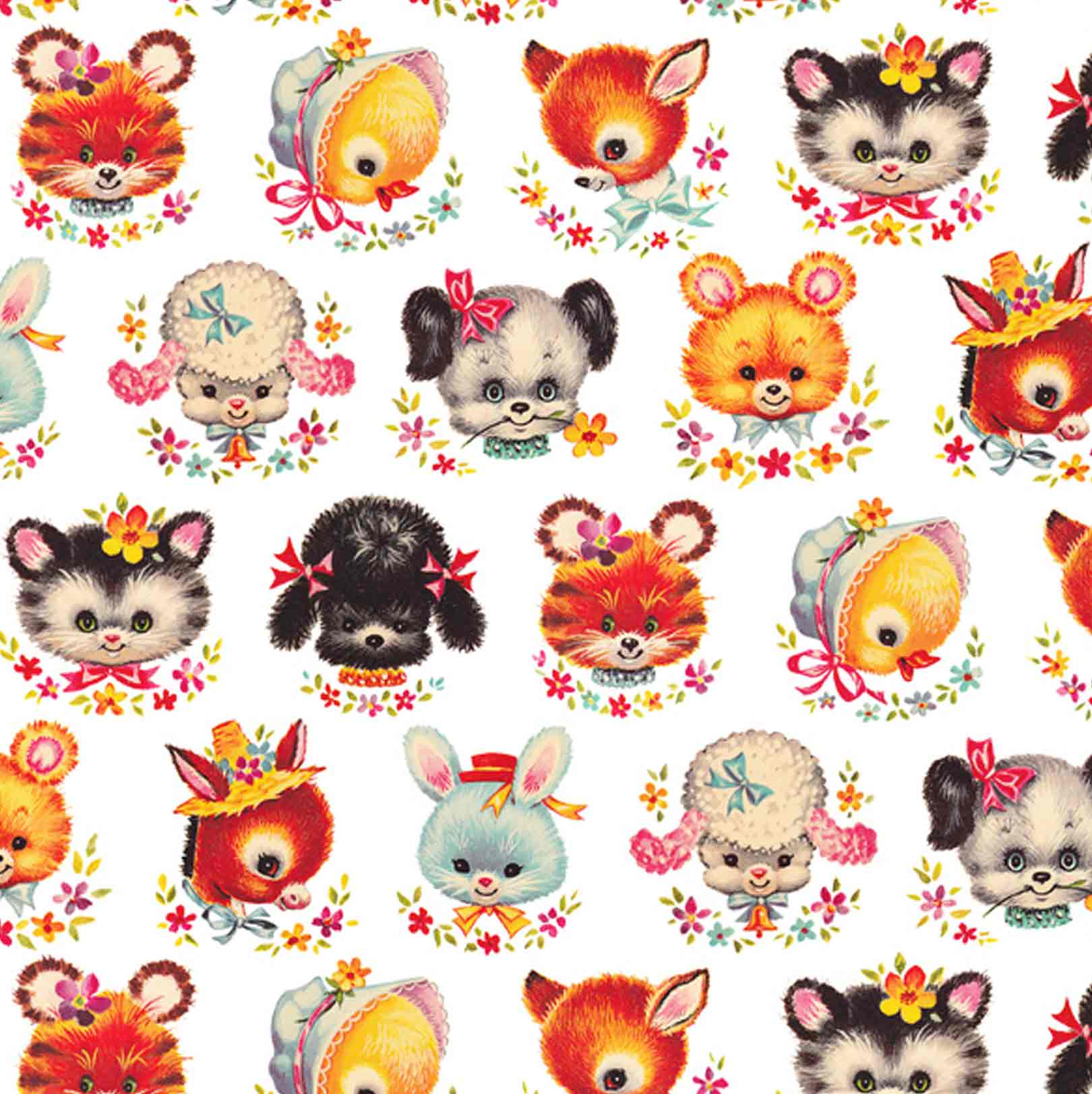 Retro Animal Faces Wrapping Paper Elfie Children S Clothes