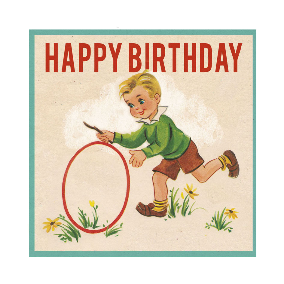 Vintage Birthday Boy Card - Elfie Children's Clothes