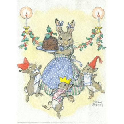 rabbitfamilywithchristmaspudding